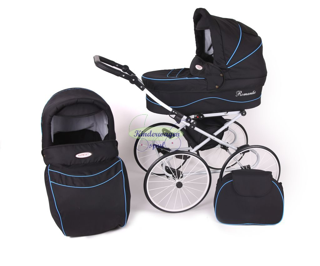 Baby carriage black - blue piping<br /> Price: 549,00 Euro