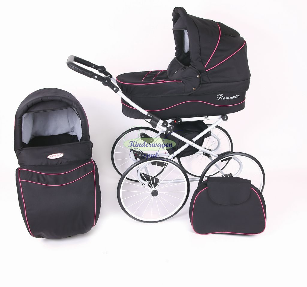 Baby carriage black - pink piping<br /> Price: 549,00 Euro